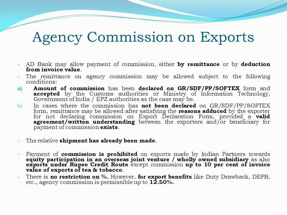 Agency Commission on Exports