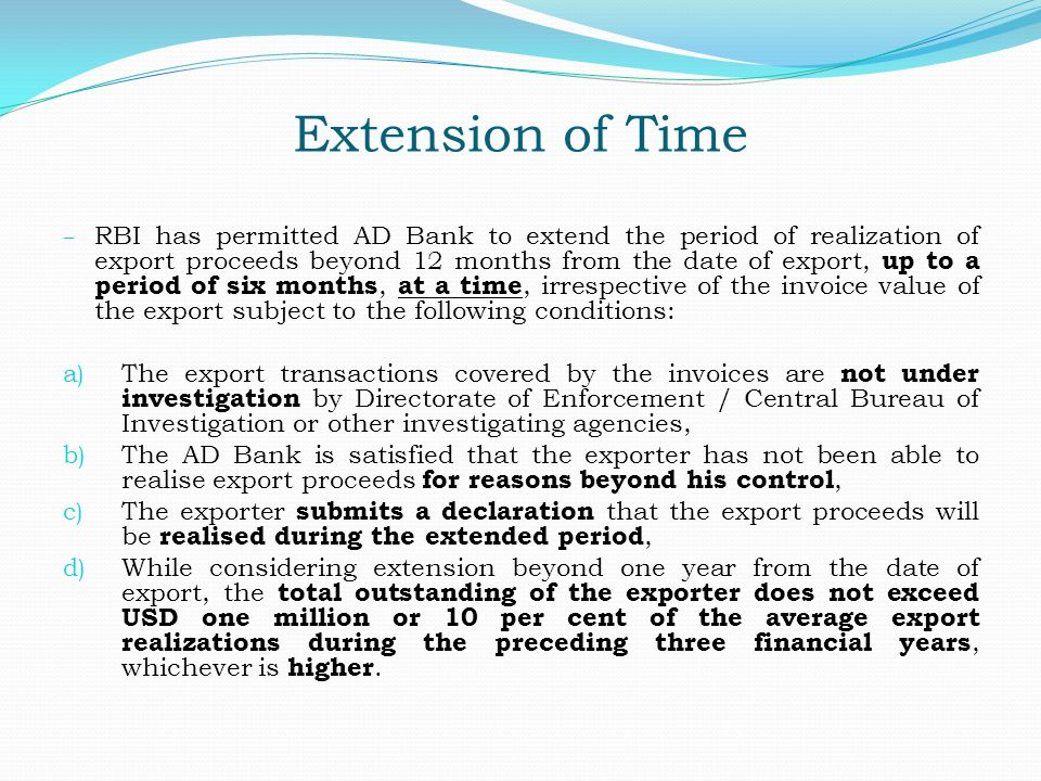 Extension of Time