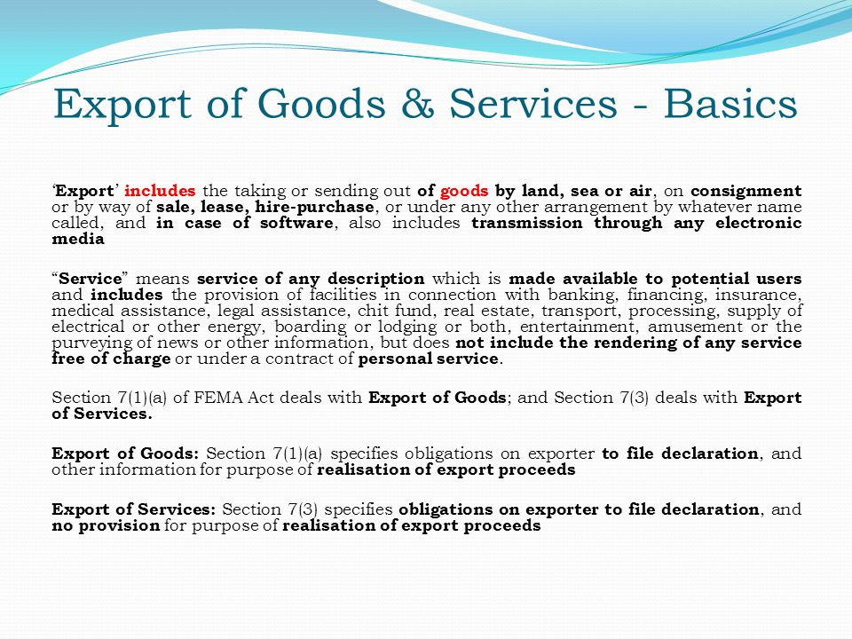 Export of Goods & Services - Basics