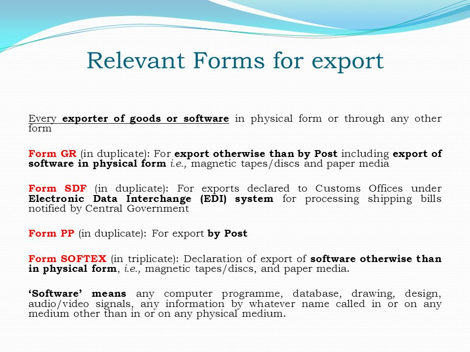 Relevant Forms for export
