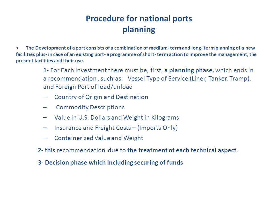 Procedure for national ports planning