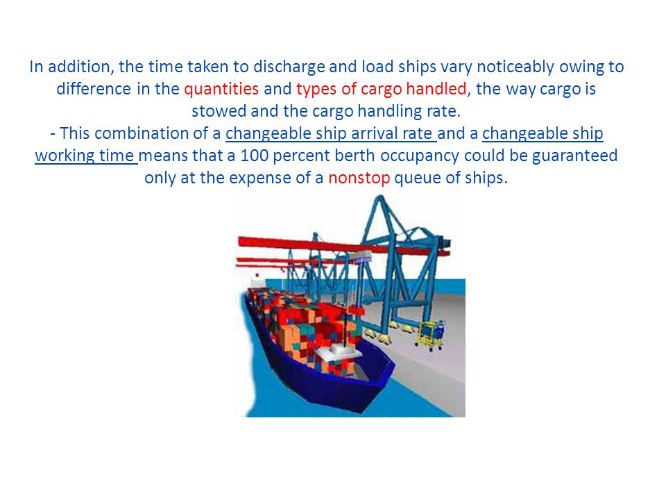 In addition, the time taken to discharge and load ships vary noticeably owing to difference in the quantities and types of cargo handled, the way cargo is stowed and the cargo handling rate.