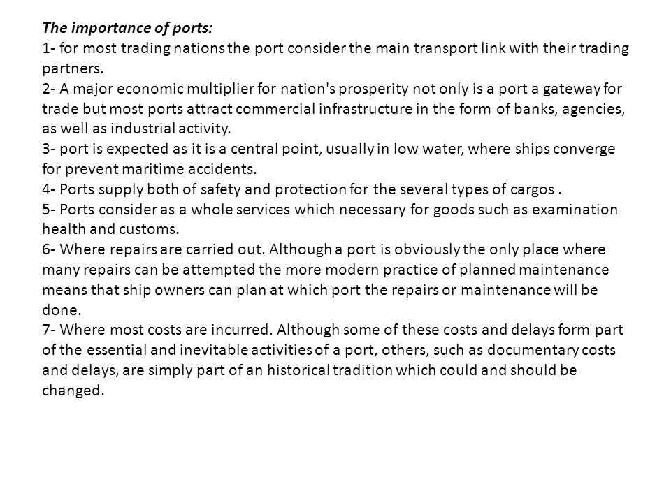 The importance of ports: