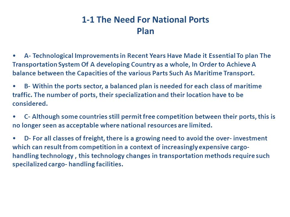 1-1 The Need For National Ports Plan