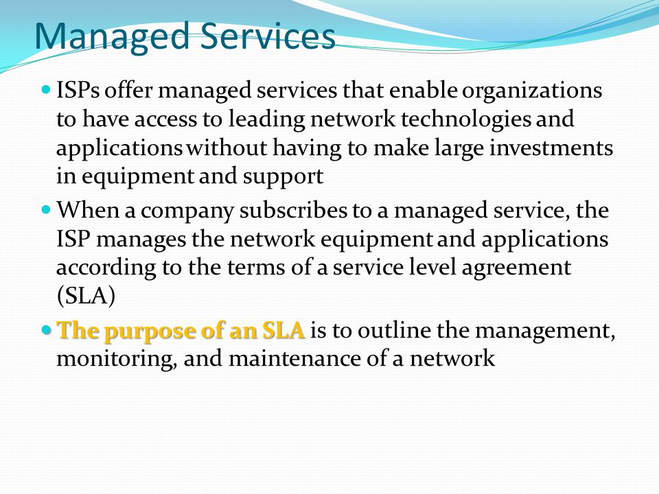 Managed Service Managed Service Level Agreement