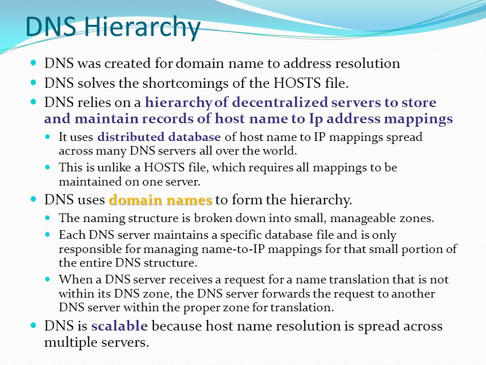 DNS Hierarchy DNS was created for domain name to address resolution