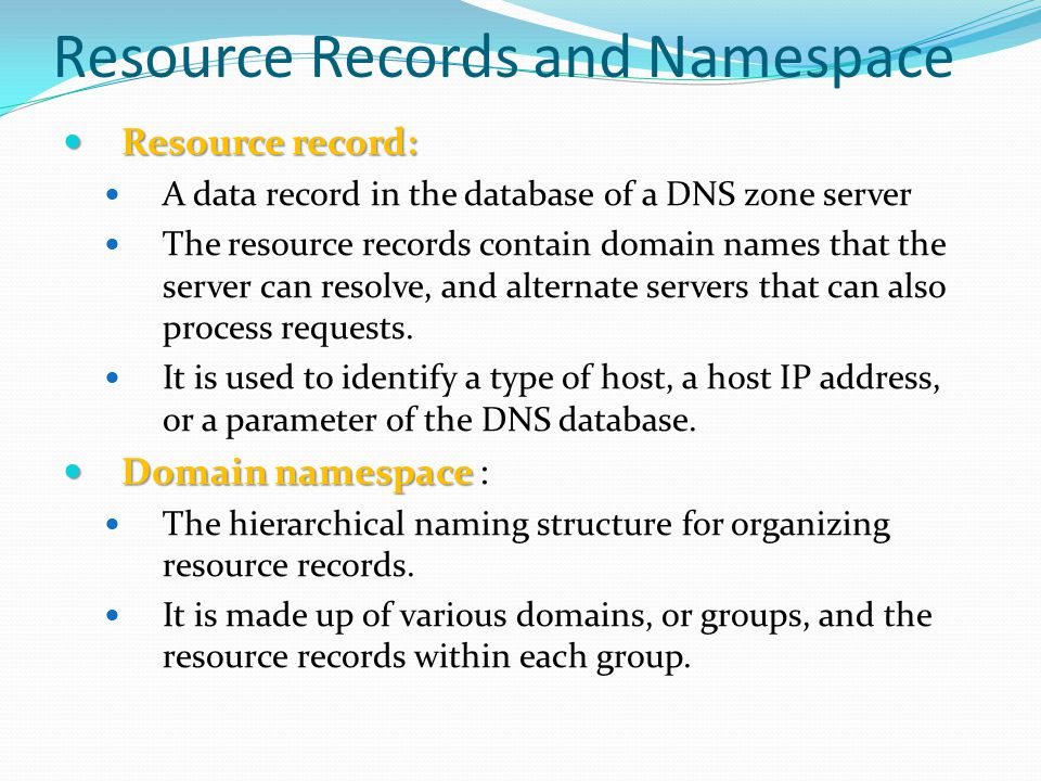 Resource Records and Namespace