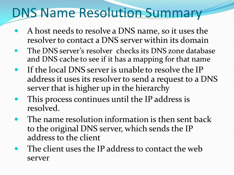DNS Name Resolution Summary