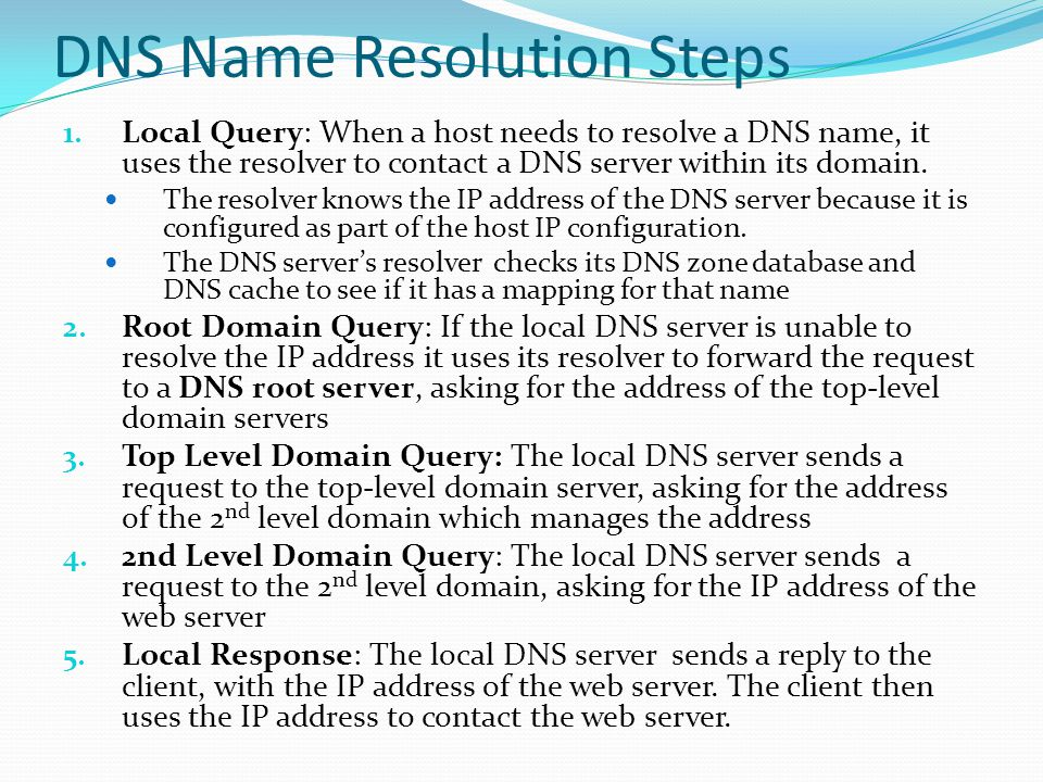 DNS Name Resolution Steps