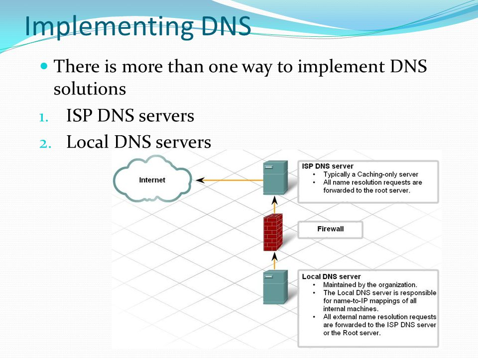 Implementing DNS There is more than one way to implement DNS solutions