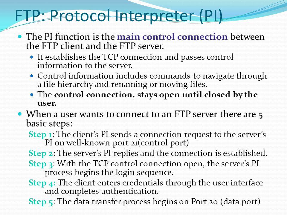 FTP: Protocol Interpreter (PI)