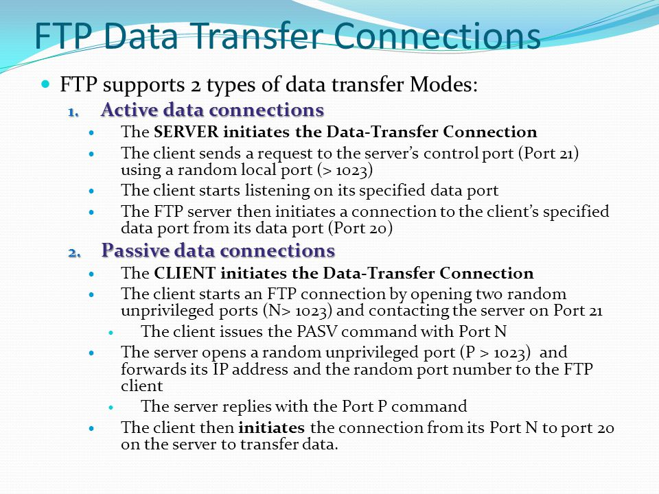 FTP Data Transfer Connections
