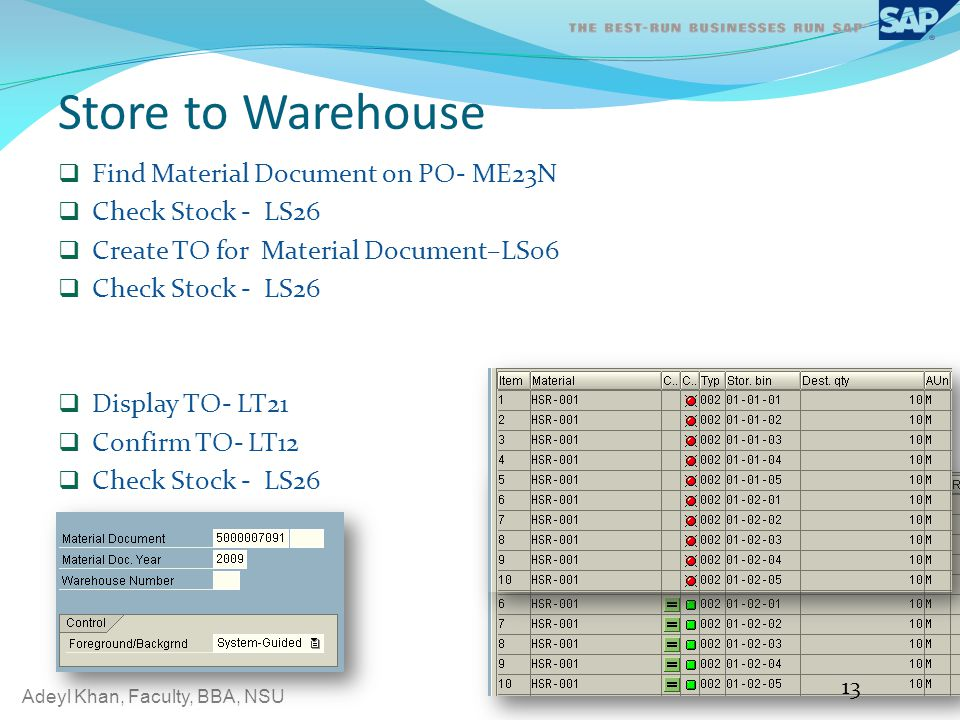 Store to Warehouse Find Material Document on PO- ME23N