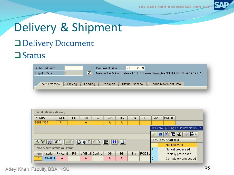 Delivery & Shipment Delivery Document Status