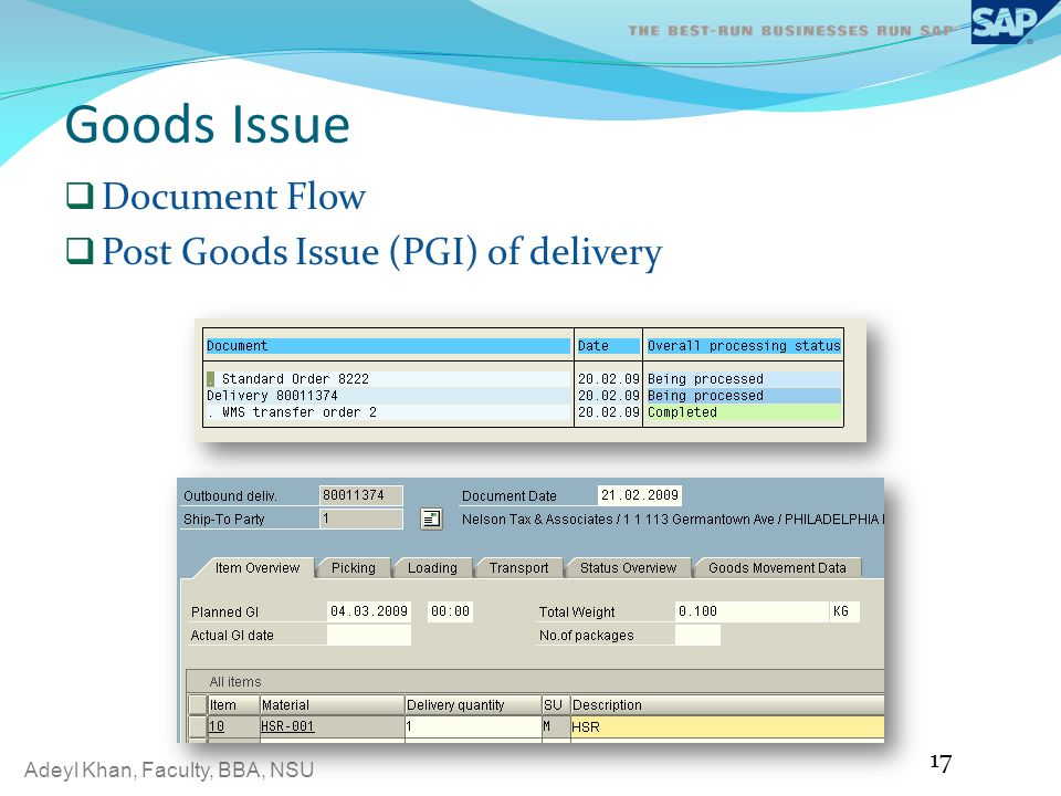 Goods Issue Document Flow Post Goods Issue (PGI) of delivery