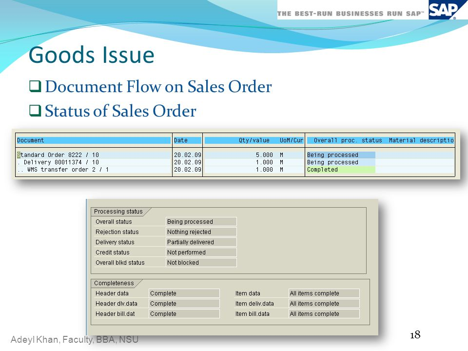Goods Issue Document Flow on Sales Order Status of Sales Order