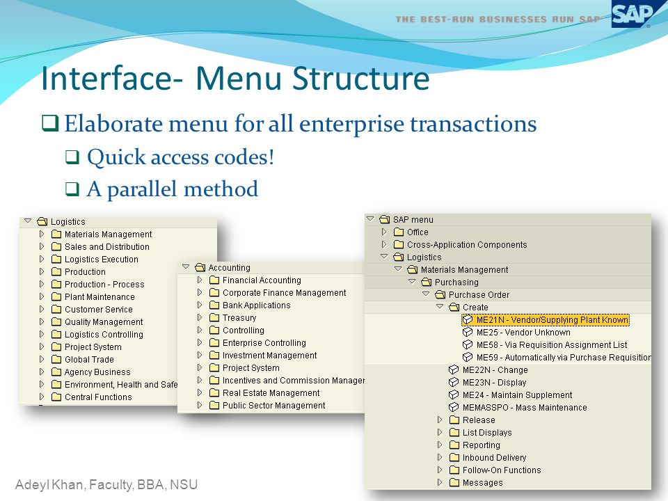 Interface- Menu Structure