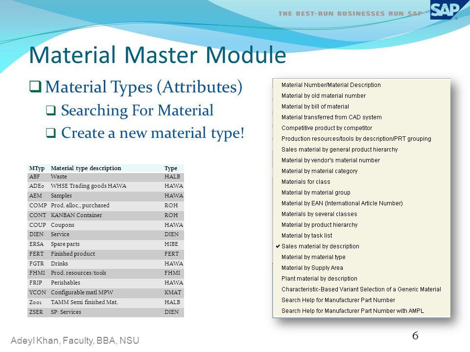 Material Master Module