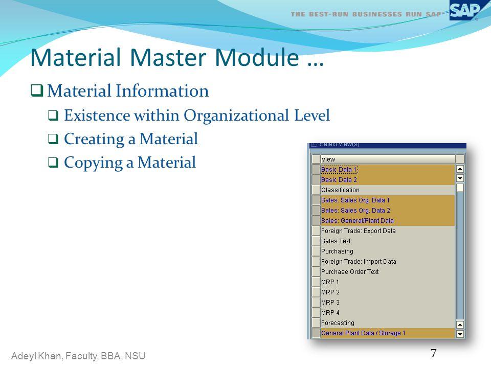 Material Master Module …