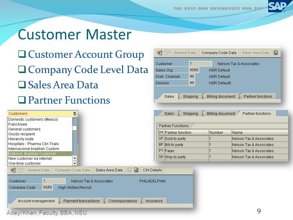 Customer Master Customer Account Group Company Code Level Data