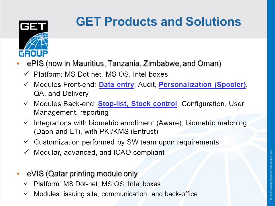 GET Products and Solutions
