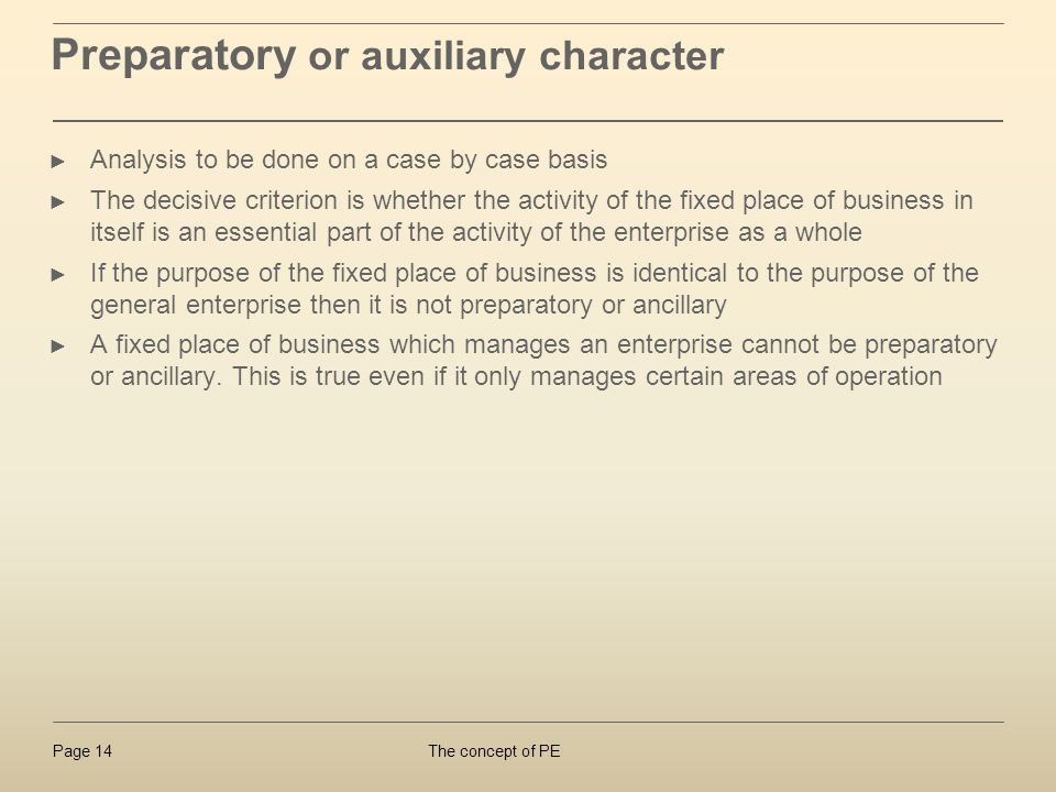 Preparatory or auxiliary character