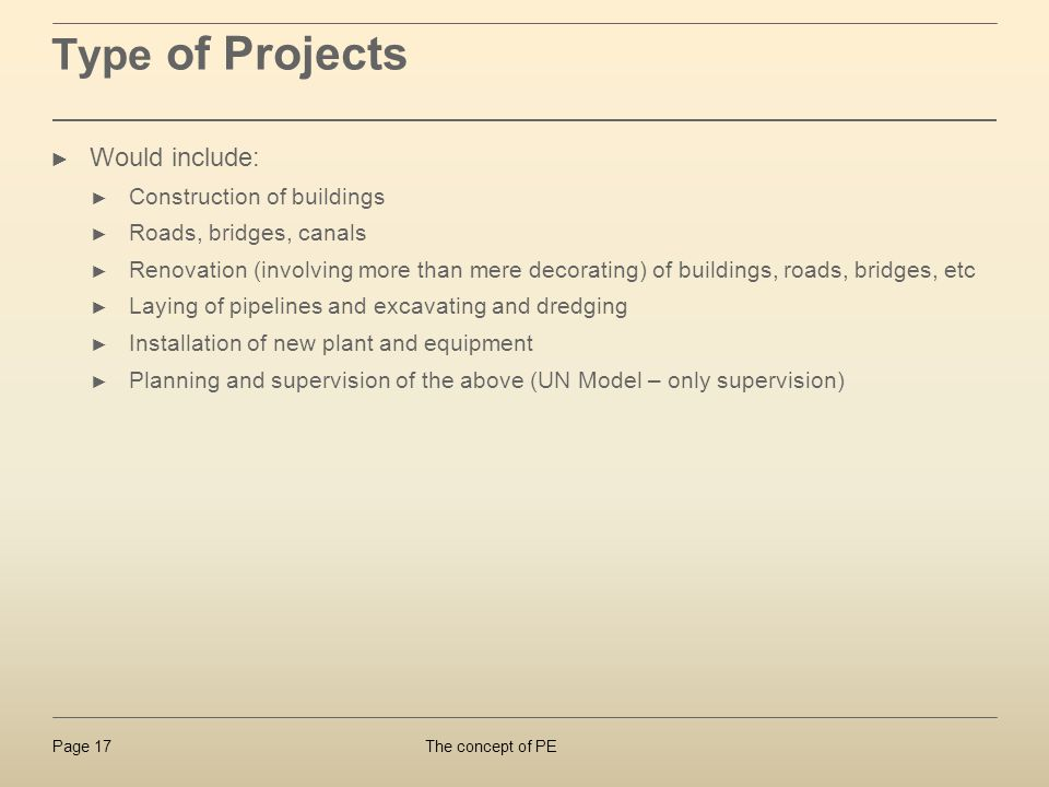 Type of Projects Would include: Construction of buildings