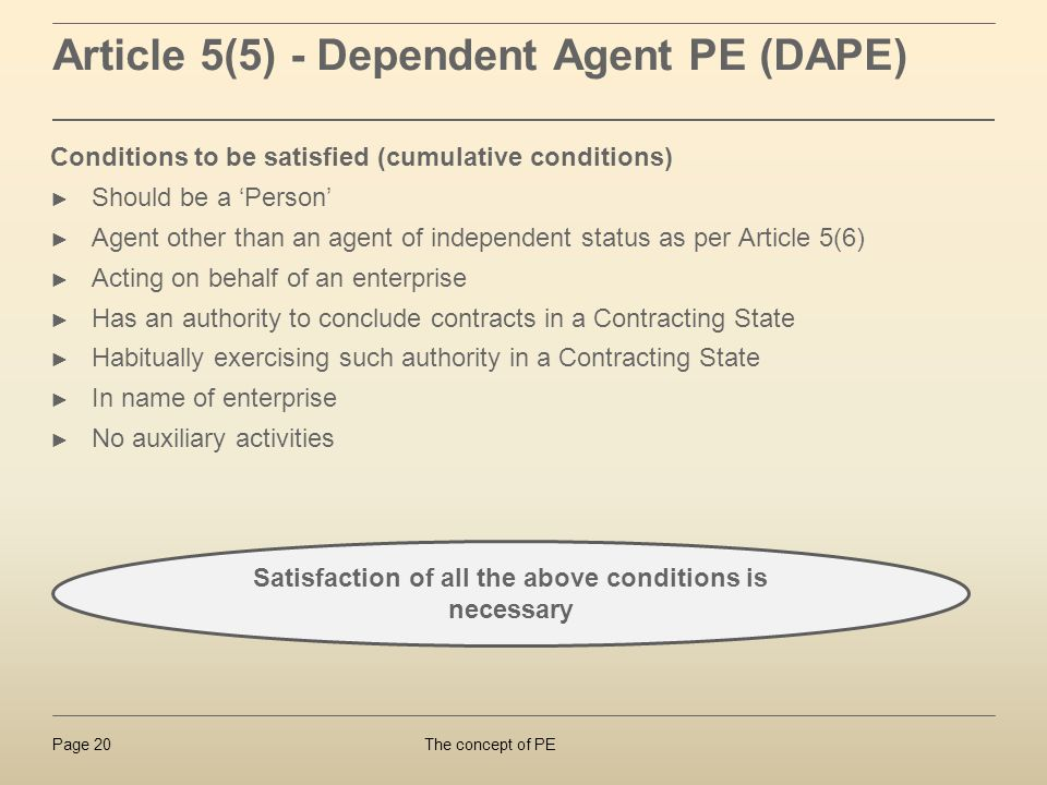 Article 5(5) - Dependent Agent PE (DAPE)