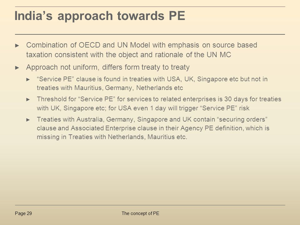 India's approach towards PE