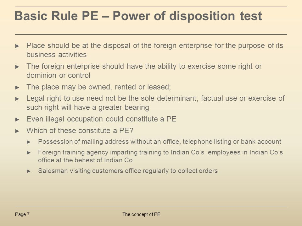 Basic Rule PE – Power of disposition test
