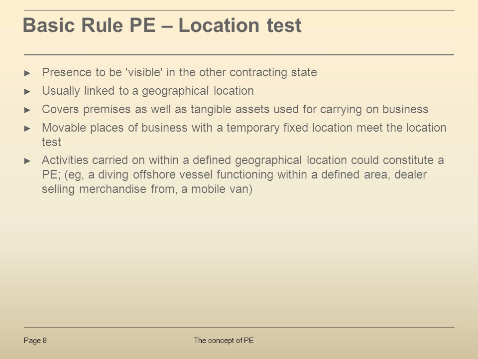 Basic Rule PE – Location test
