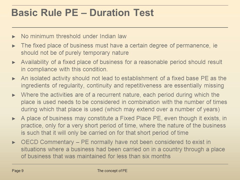 Basic Rule PE – Duration Test