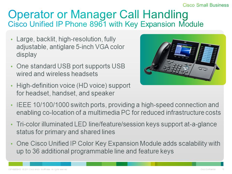 Operator or Manager Call Handling Cisco Unified IP Phone 8961 with Key Expansion Module