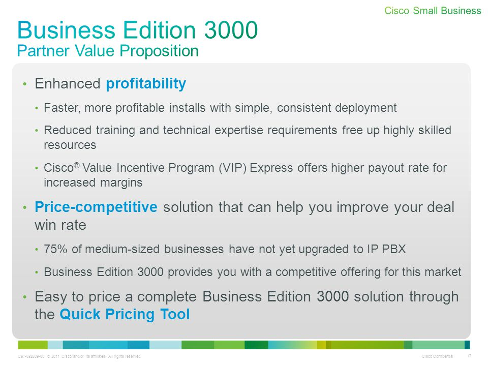 Business Edition 3000 Partner Value Proposition