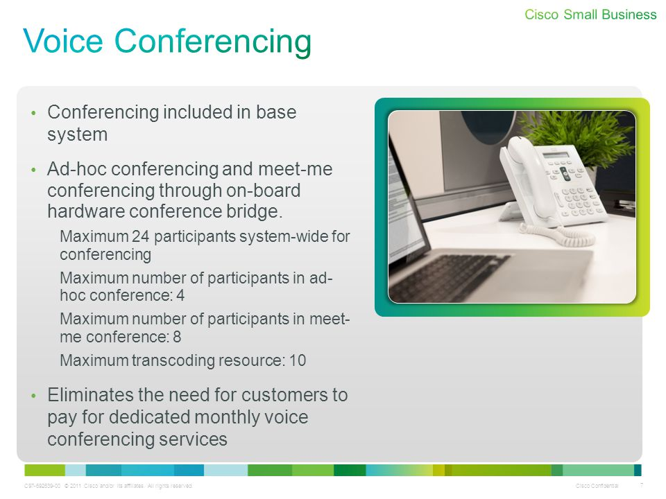 Voice Conferencing Conferencing included in base system
