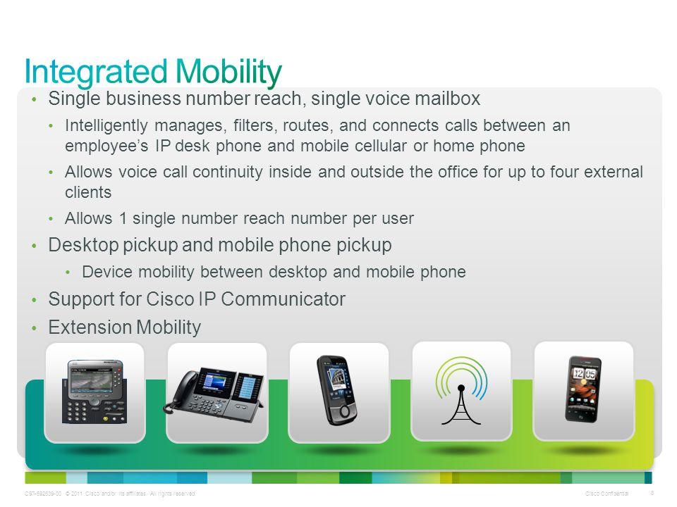Integrated Mobility Single business number reach, single voice mailbox