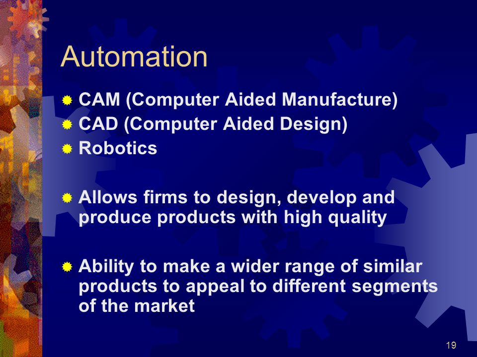 Automation CAM (Computer Aided Manufacture)