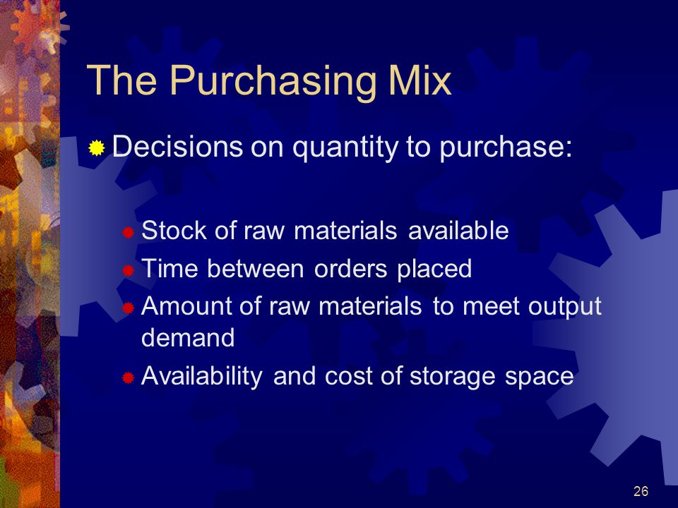 The Purchasing Mix Decisions on quantity to purchase: