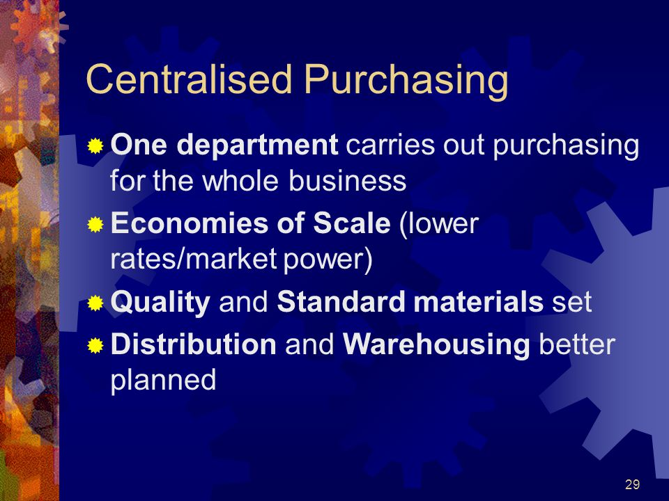Centralised Purchasing