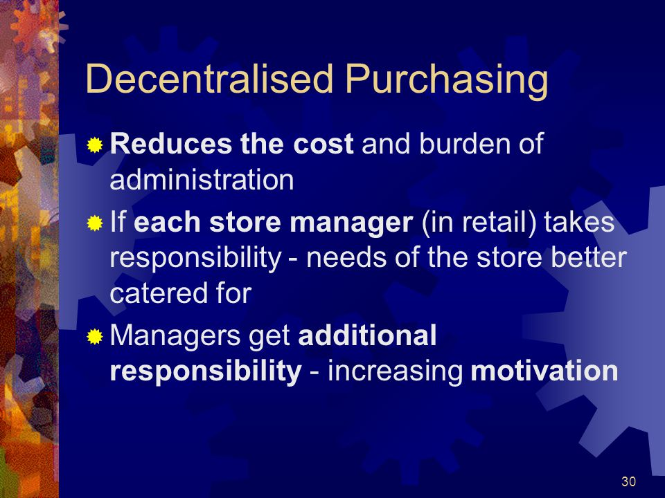 Decentralised Purchasing