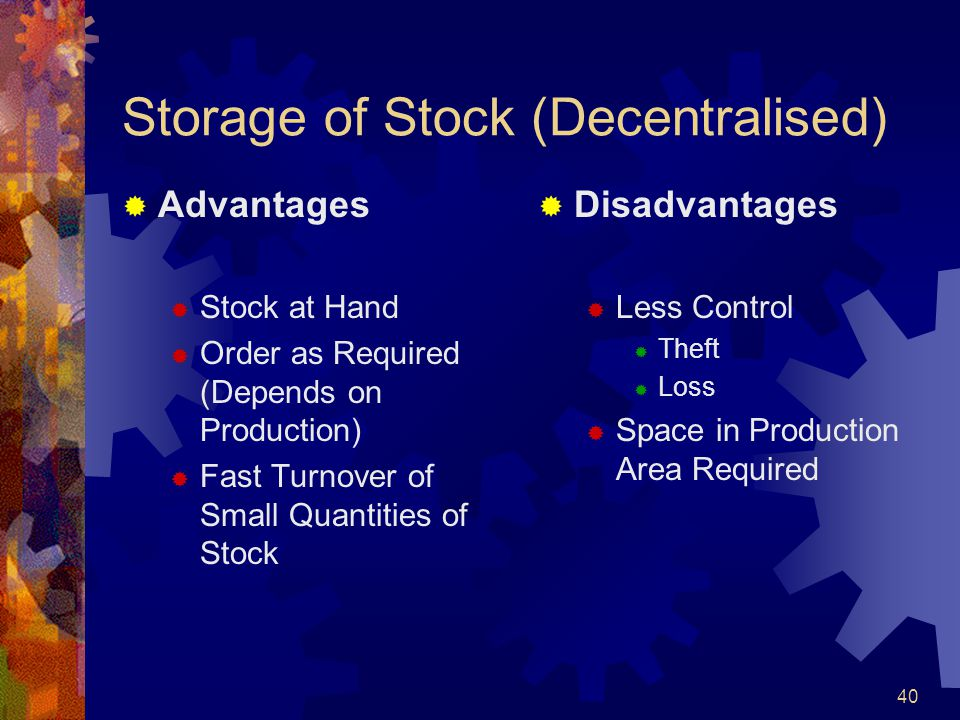 Storage of Stock (Decentralised)