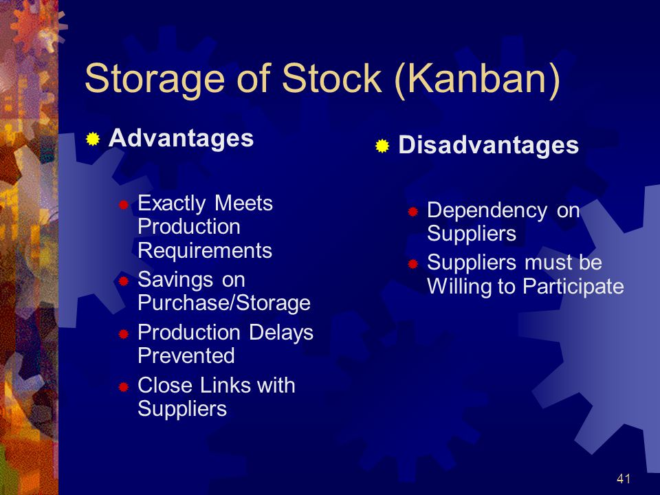 Storage of Stock (Kanban)