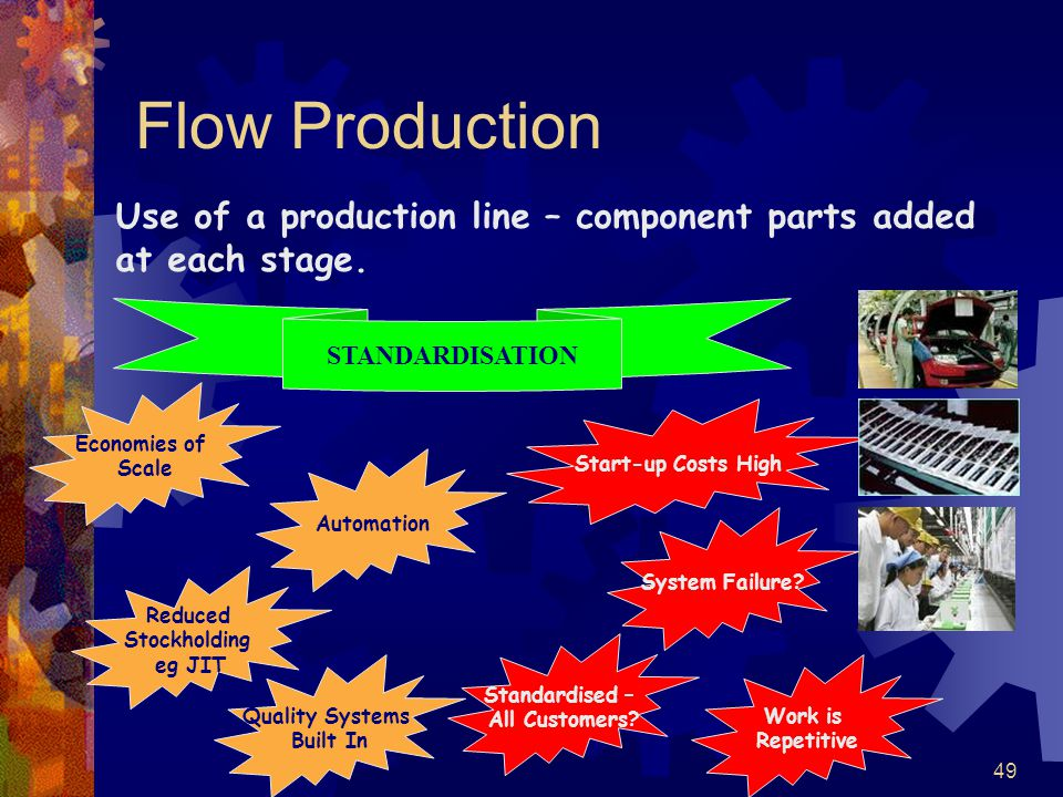 Flow Production Use of a production line – component parts added at each stage. STANDARDISATION. Economies of.