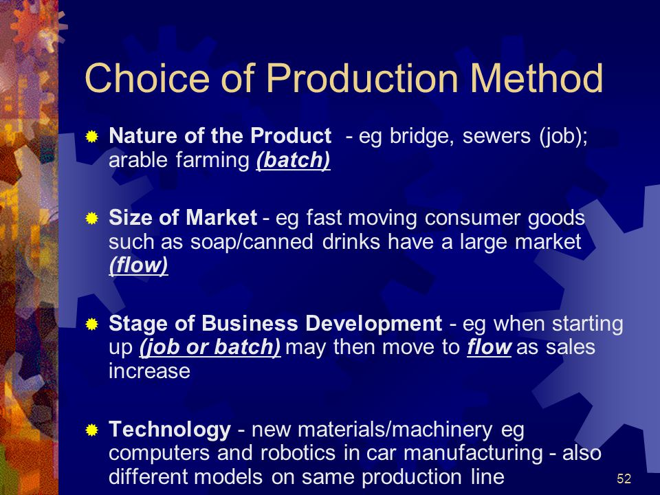 Choice of Production Method