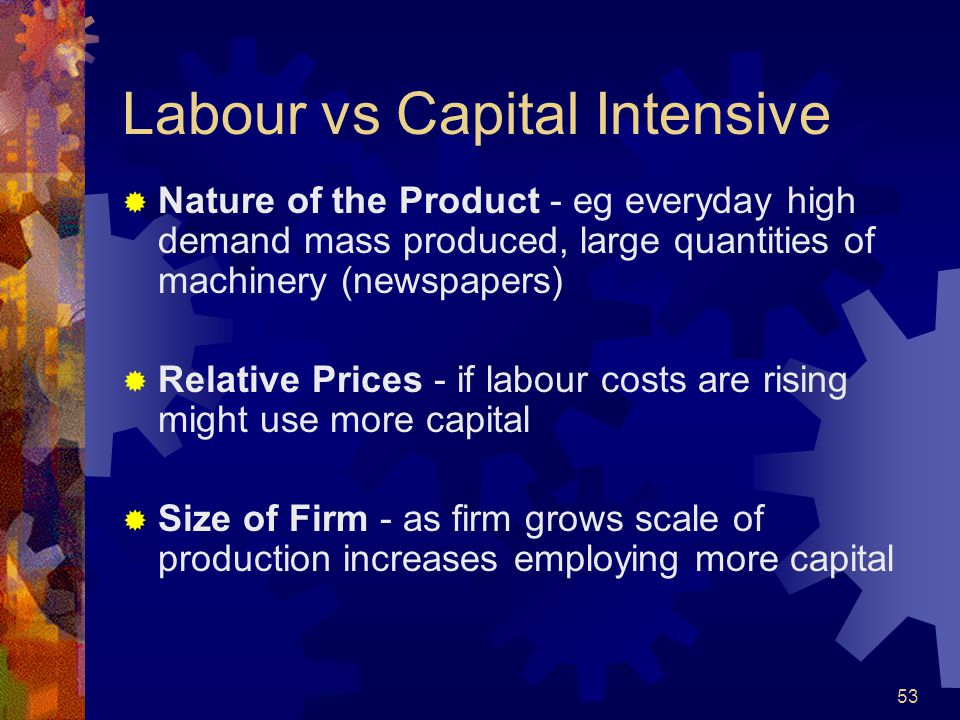 Labour vs Capital Intensive
