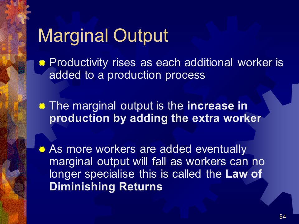 Marginal Output Productivity rises as each additional worker is added to a production process.