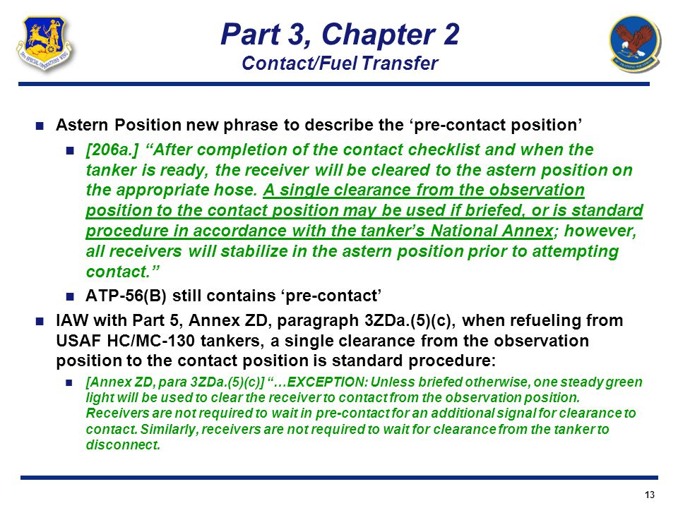 Part 3, Chapter 2 Contact/Fuel Transfer