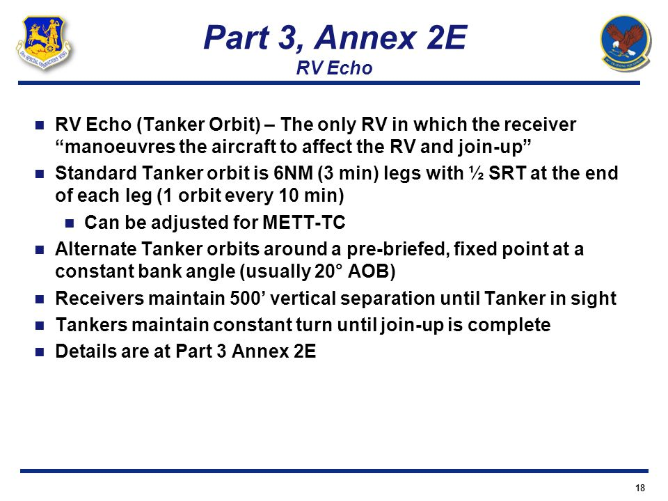 Part 3, Annex 2E RV Echo RV Echo (Tanker Orbit) – The only RV in which the receiver manoeuvres the aircraft to affect the RV and join-up