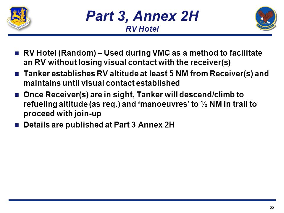 Part 3, Annex 2H RV Hotel RV Hotel (Random) – Used during VMC as a method to facilitate an RV without losing visual contact with the receiver(s)
