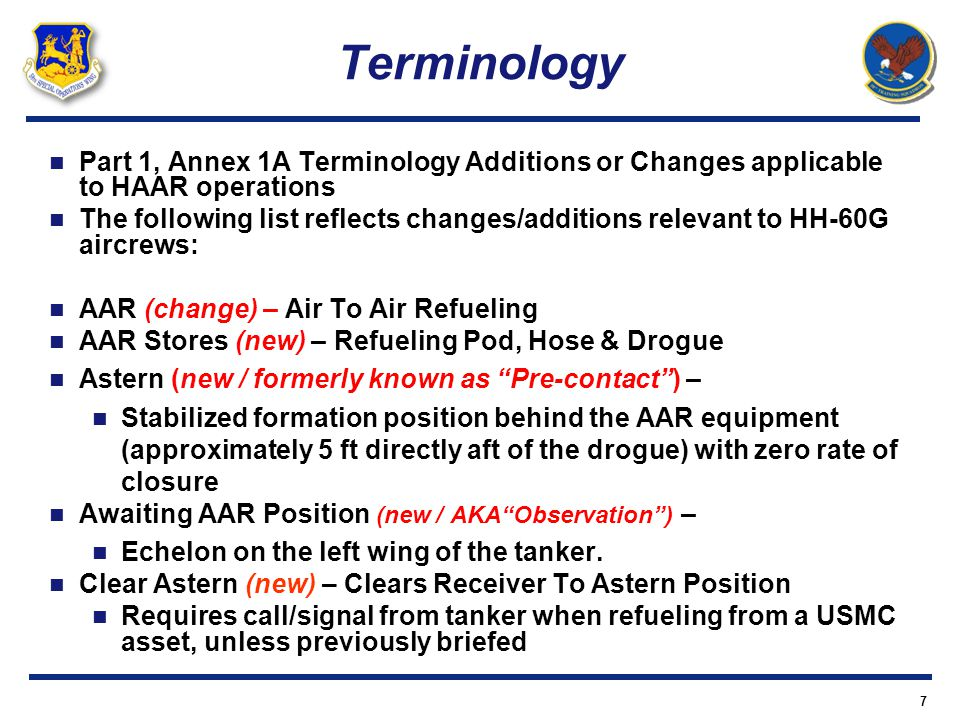 Terminology Part 1, Annex 1A Terminology Additions or Changes applicable to HAAR operations.